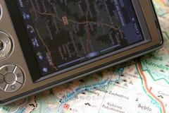 GPS e mapa Imagens de Stock