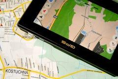 GPS e mapa Fotografia de Stock Royalty Free