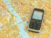 GPS en kaart Royalty-vrije Stock Fotografie
