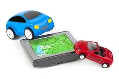 GPS en stuk speelgoed auto's Stock Foto's