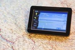 GPS et carte photos stock