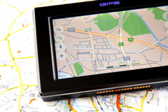 GPS et carte Photos stock