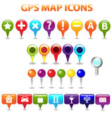 Gps-Farben-Karten-Ikonen Lizenzfreies Stockbild