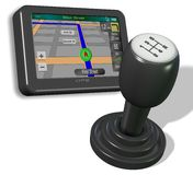 GPS and gear shift knob Stock Photography