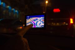 GPS or Global Positioning System car navigation device Stock Photos