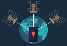 GPS global positioning system satellite phone location tracking how method technical. Vector Stock Image
