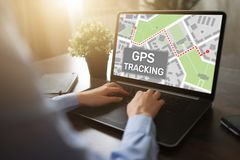 GPS Global positioning system tracking map on device screen. stock photo