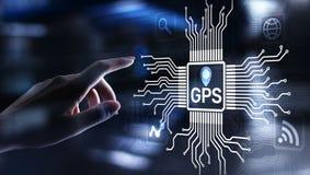 GPS - Globalt placera system, för kontrollteknologi för navigering spårande begrepp royaltyfria foton