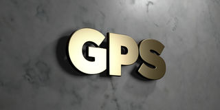Gps - Gold sign mounted on glossy marble wall  - 3D rendered royalty free stock illustration Stock Image