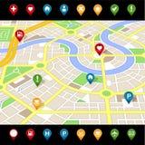 GPS gosta do MAPA imaginário da cidade Fotos de Stock Royalty Free
