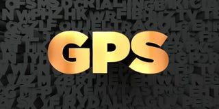 Gps - guld- text på svart bakgrund - 3D framförd fri materielbild för royalty Fotografering för Bildbyråer