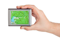 GPS in hand Royalty Free Stock Image