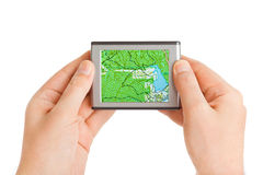 GPS in hands Royalty Free Stock Photo