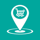 Gps icon market. Vector illustration in flat style Stock Image
