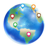 Gps icon on a planet earth globe. A gps icon on a planet earth globe Royalty Free Stock Photo