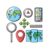 Travel and navigation design. Gps and icon set of travel navigation and route theme Vector illustration Royalty Free Stock Photography
