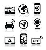GPS, icone di viaggio di navigazione messe Immagini Stock Libere da Diritti