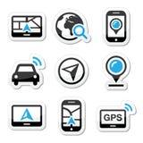GPS, icone di viaggio di navigazione messe Immagine Stock Libera da Diritti