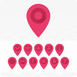 GPS Icons red. Set of vector icons GPS. Universal GPS icons Stock Photography