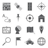 GPS Icons. Set Of 16 Simple GPS Navigation Icons Stock Image