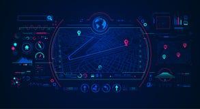 Gps interface. Concept of gps navigation technology, interface of road map navigator royalty free illustration
