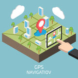GPS isometric with hand and tablet. Vector illustration Royalty Free Stock Image