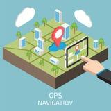 GPS isometrisch mit der Hand und Tablette Auch im corel abgehobenen Betrag stock abbildung