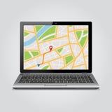 GPS-kaart op vertoning van modern notitieboekje Royalty-vrije Stock Foto