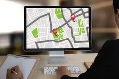 GPS-Karte zur Richtungs-Network Connection Standort-Straße lizenzfreies stockbild
