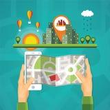 Gps-Karten und Navigationsvektorkonzept Lizenzfreie Stockfotografie
