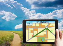 Gps. With the landscape and roads Royalty Free Stock Photos