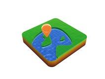 Gps location mark on map. Gps location mark on 3D map symbol isolated on white background Royalty Free Stock Photos
