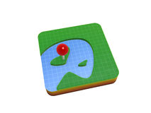 Gps location mark on map Royalty Free Stock Images