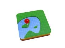 Gps location mark on map. Gps location mark on 3D map symbol isolated on white background Royalty Free Stock Images