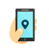 GPS location symbol. Map pointer Gps search city in smartphone concept. Phone in hand. Vector flat illustration icon. Isolated on Stock Photo