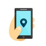 GPS lokaci symbol Mapa pointeru Gps szukają miasto w smartphone pojęciu ręka telefon Wektorowa płaska ilustracyjna ikona Odizolow Zdjęcie Stock