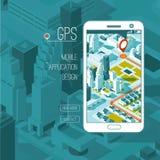 Gps móviles y concepto del seguimiento Pista app de la ubicación en el smartphone de la pantalla táctil, mapa isométrico de la ci Imagen de archivo libre de regalías