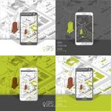 Gps móviles y concepto del seguimiento Pista app de la ubicación en smartphone de la pantalla táctil, en fondo isométrico del map Fotografía de archivo libre de regalías
