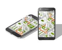 Gps móviles y concepto del seguimiento Pista app de la ubicación en smartphone de la pantalla táctil, en mapa isométrico de la ci Fotografía de archivo libre de regalías