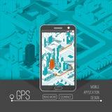 Gps móviles y concepto del seguimiento Pista app de la ubicación en smartphone de la pantalla táctil, en mapa isométrico de la ci Fotos de archivo