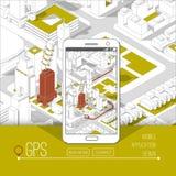 Gps móviles y concepto del seguimiento Pista app de la ubicación en smartphone de la pantalla táctil, en mapa isométrico de la ci Foto de archivo