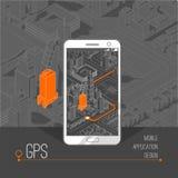 Gps móviles y concepto del seguimiento Pista app de la ubicación en smartphone de la pantalla táctil, en mapa isométrico de la ci Fotografía de archivo