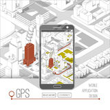 Gps móviles y concepto del seguimiento Pista app de la ubicación en smartphone de la pantalla táctil, en mapa isométrico de la ci Imagen de archivo libre de regalías
