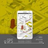 Gps móviles y concepto del seguimiento Pista app de la ubicación en smartphone de la pantalla táctil, en mapa isométrico de la ci Imagenes de archivo