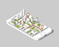 Gps móviles y concepto del seguimiento Pista app de la ubicación en smartphone de la pantalla táctil, en fondo isométrico del map Imágenes de archivo libres de regalías