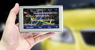 Gps in a man hand. Stock Photos