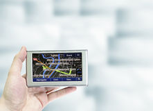 Gps in a man hand. royalty free stock photo
