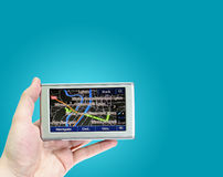 Gps in a man hand. Royalty Free Stock Photos