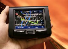 Gps in a man hand Royalty Free Stock Image