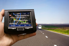 Gps in a man hand Stock Photography